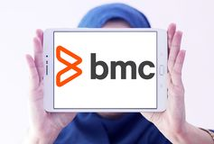 BMC Software company logo. Logo of BMC Software company on samsung tablet holded by arab muslim woman. BMC Software, Inc. is an American technology company. BMC stock photos
