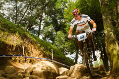 BMC Team rider rock garden at Momentum Health Int Royalty Free Stock Image