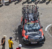 BMC Team Technical Car in Pyrenees Mountains. Col de Pailheres,France- July 06 2013: Technical car of BMC procycling team climbing the road to Col de Pailheres Royalty Free Stock Photography