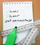Bmi、bmr和肥胖百分比 库存图片