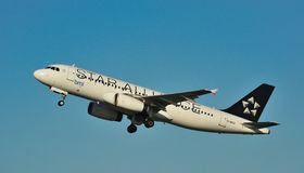 BMI Airbus A320. Taking off from Manchester Airport royalty free stock photos