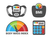 BMI Body Mass Index Calculation Icon Set. Weight Loss Isolated Vector vector illustration