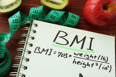 BMI body mass index English or imperial formula royalty free stock photo