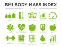 BMI Body Mass Index Icon Set. Weight, Height, BMI Machine, Graph, Measuring, Health, Heart Disease, Scale, Diabetes, Diet,. BMI Body Mass Index Icon Set. Weight stock illustration
