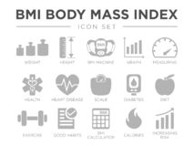 BMI Body Mass Index Icon Set. Weight, Height, BMI Machine, Graph, Measuring, Health, Heart Disease, Scale, Diabetes, Diet,. BMI Body Mass Index Icon Set. Weight vector illustration