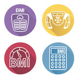 BMI or Body Mass Index Icons. With scale, calculator and machine stock illustration