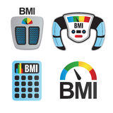 BMI or Body Mass Index Icons. Scale, BMI Machine, calculator and meter for measuring body mass index royalty free illustration