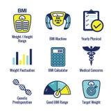 BMI / Body Mass Index Icons w scale, indicator, & calculator stock illustration