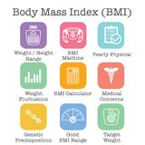 BMI / Body Mass Index Icons w scale, indicator, & calculator. BMI / Body Mass Index Icons w scale, indicator, and calculator vector illustration