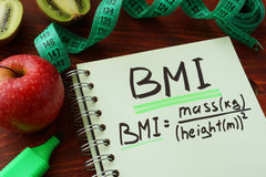 BMI body mass index. (metric formula) written on a notepad sheet stock images