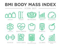 BMI Body Mass Index Outline Icon Set. Weight, Height, BMI Machine, Graph, Measuring, Health, Heart Disease, Scale, Diabetes, Diet. BMI Body Mass Index Outline stock illustration