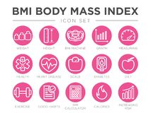 BMI Body Mass Index Round Outline Icon Set of Weight, Height, BMI Machine, Graph, Measuring, Health, Heart Disease, Scale,. BMI Body Mass Index Round Outline royalty free illustration
