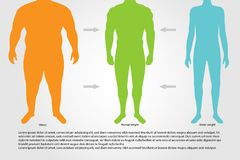 BMI, illustration.Man silhouettes.Male body with different weight. BMI or Body Mass Index Infographic Chart.Vector illustration royalty free illustration