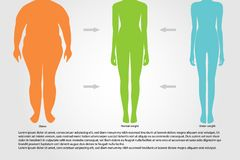 BMI, illustration.Woman silhouettes.Female body with different weight. stock illustration