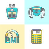 BMI o icone dell'indice di massa corporea illustrazione di stock