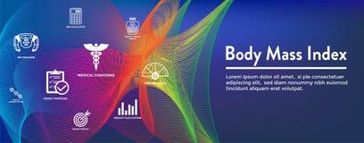 BMI o icone dell'indice di massa corporea con la scala, l'indicatore ed il calcolatore illustrazione vettoriale