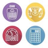 BMI o iconos del índice de masa corporal stock de ilustración