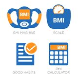 BMI Weight Body Mass Index Icons. Weight Loss Isolated Set royalty free illustration