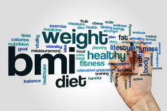 BMI word cloud. Concept on grey background Royalty Free Stock Image