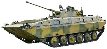 BMP 2 - Soviet fighting vehicle on white. BMP 2 - Soviet fighting vehicle is isolated on a white background Stock Photography