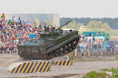 BMP-3 jumps from the ramp. ZHUKOVSKY, RUSSIA - JULY 1: BMP-3 IFV jumps from the ramp on the Forum ET-2012 on July 01, 2012 in Zhukovsky, Russia Royalty Free Stock Photos