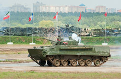 BMP-3 uses active protection system. ZHUKOVSKY, RUSSIA - JULY 1: BMP-3 IFV uses an active protection system on the Forum ET-2012 on July 01, 2012 in Zhukovsky Stock Photography