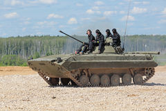 The BMP-2 (infantry combat vehicle). MILITARY GROUND ALABINO, MOSCOW OBLAST, RUSSIA - JUN 18, 2015: The BMP-2 (infantry combat vehicle) is a second-generation Royalty Free Stock Photography