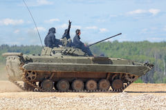 The BMP-2 (infantry combat vehicle). MILITARY GROUND ALABINO, MOSCOW OBLAST, RUSSIA - JUN 18, 2015: The BMP-2 (infantry combat vehicle) is a second-generation Stock Photo
