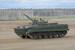 BMP-3 infantry combat vehicle. MILITARY GROUND ALABINO, MOSCOW OBLAST, RUSSIA - SEP 10, 2016: The BMP-3 infantry combat vehicle is a amphibious infantry fighting Royalty Free Stock Photography