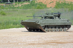 The BMP-2M (infantry combat vehicle). MILITARY GROUND ALABINO, MOSCOW OBLAST, RUSSIA - JUN 18, 2015: The BMP-2M (infantry combat vehicle) is a modernized second Stock Image
