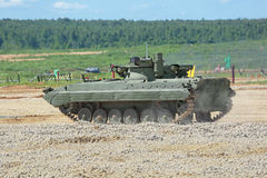 The BMP-2M (infantry combat vehicle). MILITARY GROUND ALABINO, MOSCOW OBLAST, RUSSIA - JUN 18, 2015: The BMP-2M (infantry combat vehicle) is a modernized second Stock Photo