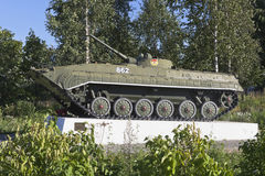BMP-1 on the Soviet Avenue in the city of Belozersk Vologda region, Russia. Belozersk, Vologda region, Russia - August 10, 2015: Monument to soldiers Stock Images