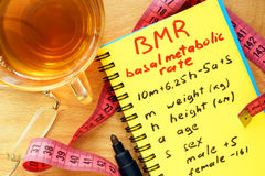 BMR basal metabolic rate formula in a notepad. Weight lose concept Royalty Free Stock Photos