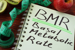 BMR Basal metabolic rate. Written on a notepad sheet Stock Image