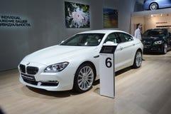 BMW六辆系列Gran小轿车 白色颜色 莫斯科国际汽车沙龙亮光 免版税库存图片