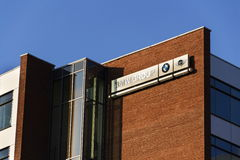BMW小组在捷克总部修造的公司商标 库存图片