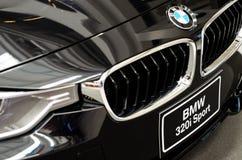 黑BMW汽车。 库存图片