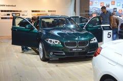 BMW的第五种系列青瓷颜色 莫斯科国际汽车沙龙 免版税库存图片