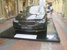 BMW的100年 国务院商店 莫斯科 7个bmw系列 库存图片