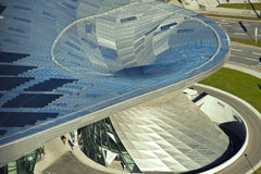 BMW鞭痕的鸟瞰图在慕尼黑 免版税库存图片