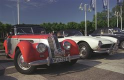 BMW 328老朋友汽车敞篷车正面图 图库摄影