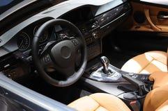 интерьер автомобиля bmw стоковое изображение rf