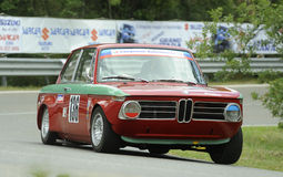 BMW 2000 TI. A BMW 2000 TI    attends the 33th edition of Coppa del Chianti Classico  a competition race of hill-climb for Historical cars valid for Royalty Free Stock Images
