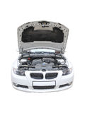 BMW 335i Bonnet open isolated Royalty Free Stock Photos