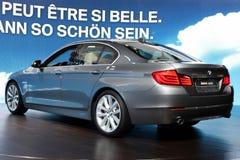 BMW 535i en la demostración de motor 2010, Ginebra Imagen de archivo