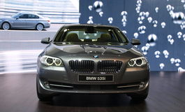 BMW 535i at Geneva International Motor Show, 2010 Stock Photo