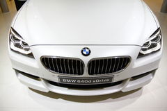BMW 640d xDrive främre sikt Royaltyfri Fotografi