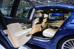 BMW Alpina B7 Bi-turbo. GENEVA, SWITZERLAND - MARCH 1: Geneva Motor Show on March 1, 2016 in Geneva, BMW Alpina B7 Bi-turbo, rear seat interior view Royalty Free Stock Photography