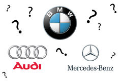 BMW Audi Mercedes ??? Brands Logos Stock Images