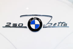 BMW automobile logo on front of car Stock Image